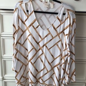 Chicos White/Brown Wood Weave Top Size 3